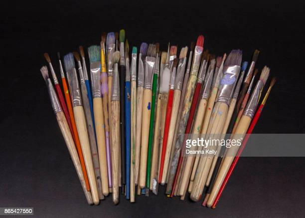 Array of Colorful Old Artist Paintbrushes