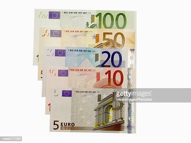 array of euro bank notes - twenty euro banknote stock photos and pictures