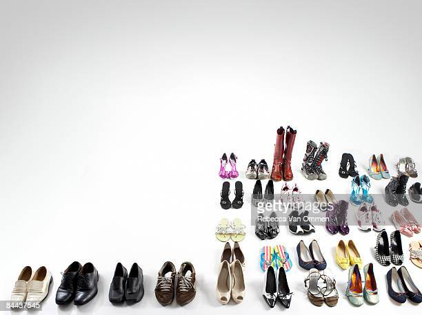 array of various shoe's on white floor