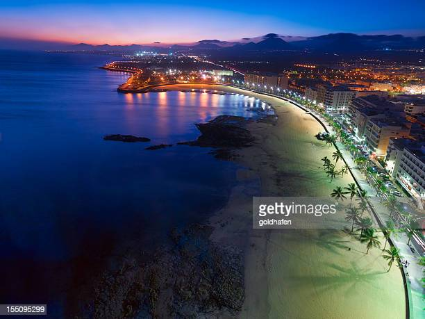 Arrecife, Lanzarote, Aerial View after Sunset