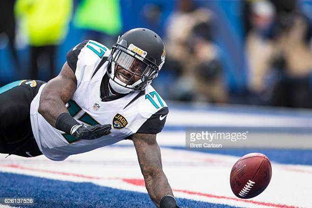 Arrelious Benn of the Jacksonville Jaguars dives to down a punt that rolled into the end zone for a Buffalo Bills touchback during the second quarter...