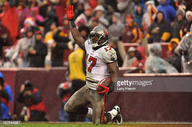 Arrelious Benn of the Tampa Bay Buccaneers celebrates a late game touchdown against the Washington Redskins at FedExField on December 12 2010 in...
