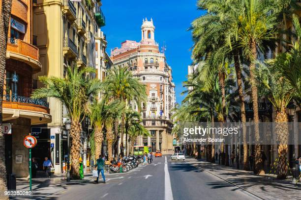 сarrer de les barques street with palm trees on a sunny day in valencia, spain - valencia spanien stock-fotos und bilder