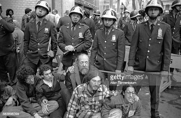 NYPD arrest AntiNuclear Power protesters who demonstrate in front of the New York Stock Exchange New York New York October 29 1979