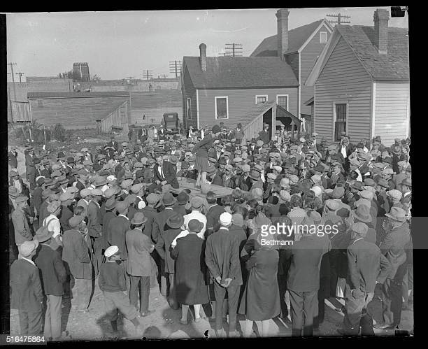 Arrested after addressing strikers at Gastonia...Ellen Dawson of Passaic, New Jersey, shown as she addressed striking mill workers from the Loray...