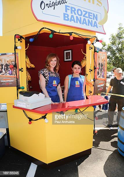 """Arrested Development's"""" Judy Greer and Mae Whitman appear at Bluth's Original Frozen Banana Stand on May 20, 2013 in Culver City, California."""