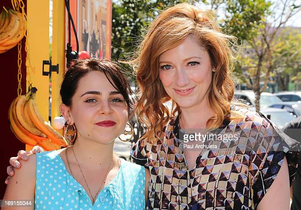 """Arrested Development's"""" Mae Whitman and Judy Greer appear at Bluth's Original Frozen Banana Stand on May 20, 2013 in Culver City, California."""
