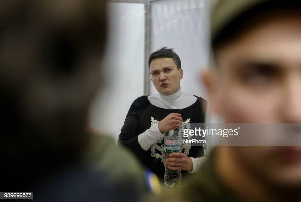 Arrested in accusation of terrorism MP Nadia Savchenko is seen in the court cage during the hearing in Kyiv Ukraine March 29 2018 Appeal Court of...