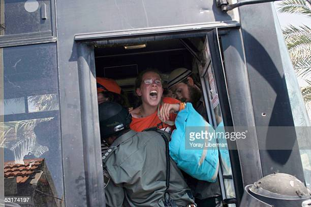 Arrested rightwing Jewish settlers are taken away in a police bus on June 30 2005 in the Gush Katif settlement in the southern Gaza Strip Israeli...
