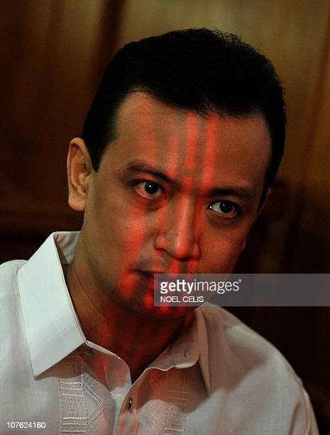 Arrested Senator Antonio Trillanes attends a press conference outside a courtroom in Makati Manila's financial district on December 16 2010 A Makati...