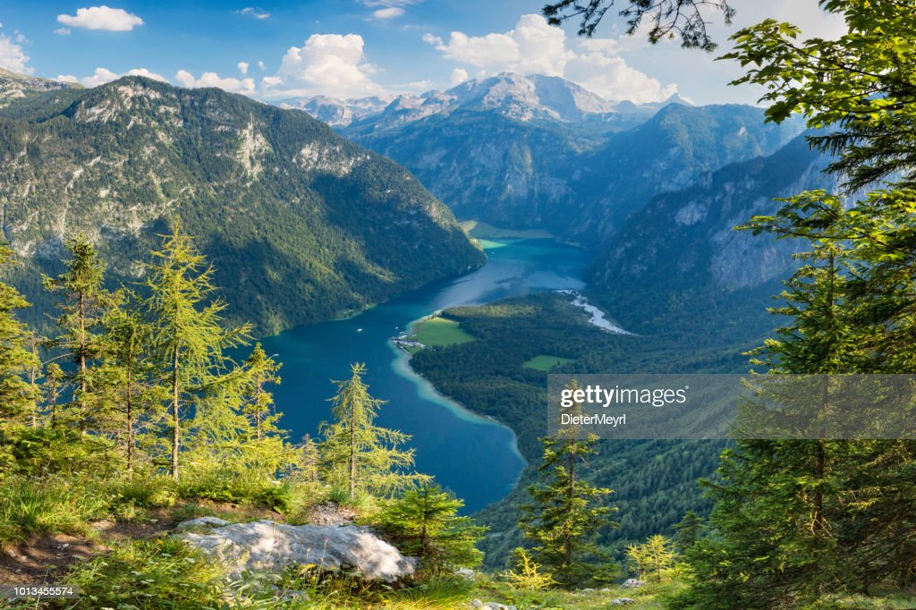 Arrial view to Lake Königssee in Nationalpark Berchtesgaden : Stock Photo