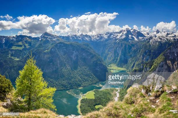 arrial view to lake königssee in nationalpark berchtesgaden - königssee bavaria stock photos and pictures