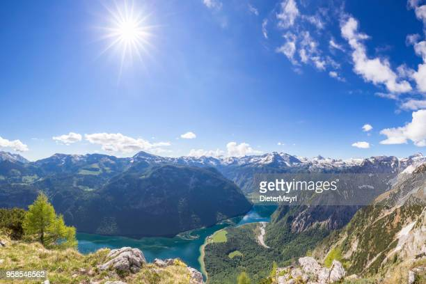 arrial view to lake königssee in nationalpark berchtesgaden - berchtesgadener land stock photos and pictures