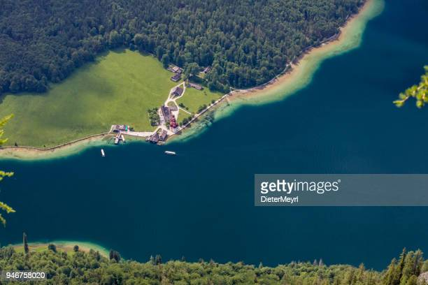 arrial view to lake königssee with st bartholomä church - berchtesgaden stock pictures, royalty-free photos & images