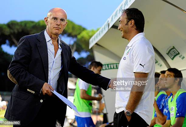 Arrigo Sacchi and Italy Head Coach Pierluigi Casiraghi during the international friendly match between Italy U21 and Denmark U21 at Stadio Torquato...