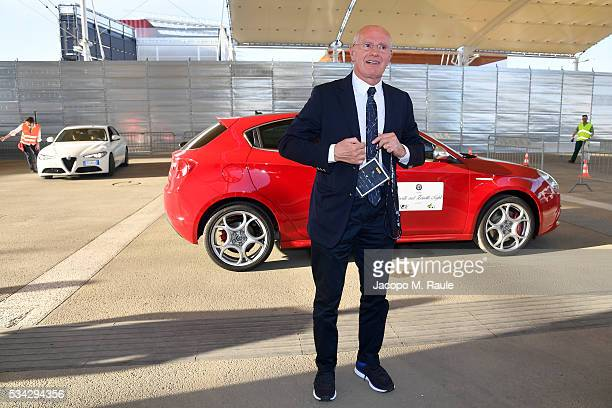 Arrigo Sacchi arrives at Bocelli and Zanetti Night on May 25 2016 in Rho Italy
