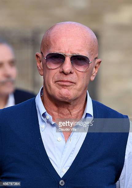 Arrigo Sacchi attends Italy Training Session at Coverciano on October 7 2014 in Florence Italy