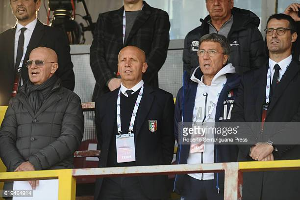 Arrigo Sacchi ex head coach of Italy looks over during the UEFA European Under17 Championship Qualifier between Italy and Serbia at Stadio Bruno...