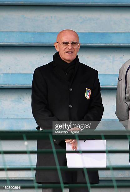 Arrigo Sacchi looks on during Under 19 International Friendly match between Italy and Germany at Stadio Comunale San Pio on February 6 2013 in Santo...