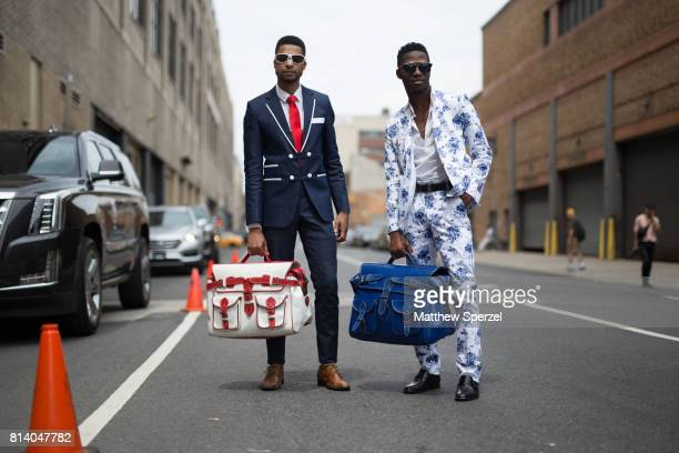 Arrington Crawford and Clay Henri are seen attending General Idea Raun LaRose during Men's New York Fashion Week carrying Clavons Wear bags on July...