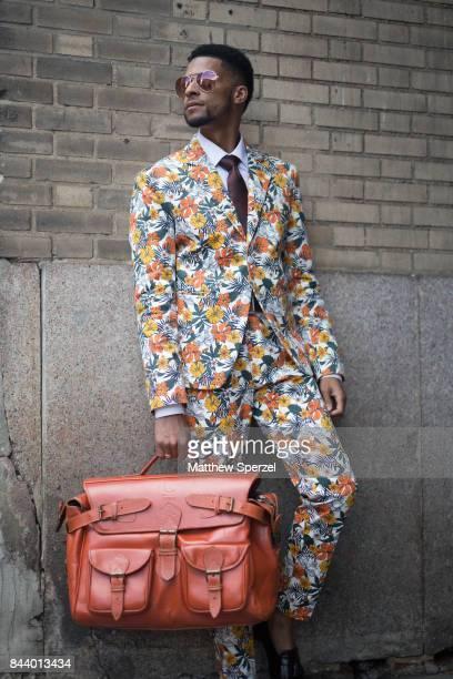 Arrington Crawford is seen attending Tadashi Shoji during New York Fashion Week wearing wearing Clavon's Wear on September 7 2017 in New York City