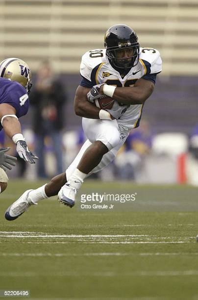 Arrington of the California Golden Bears carries the ball during the game against the Washington Huskies on November 13 2004 at Husky Stadium in...