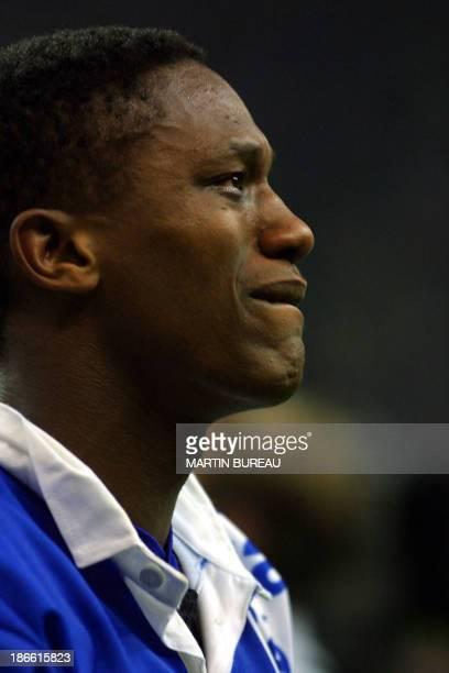 L'arrière montferrandais jimmy Marlu pleure après la défaite de son équipe sur le Stade Toulousain à l'issue de la finale du championnat de France de...