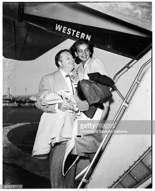 Arrival 18 April 1952 Xaviar CugatMiss Abbe Lane Supplementary material reads 'Western Air Lines release by Los Angeles Airport Photography Bill...
