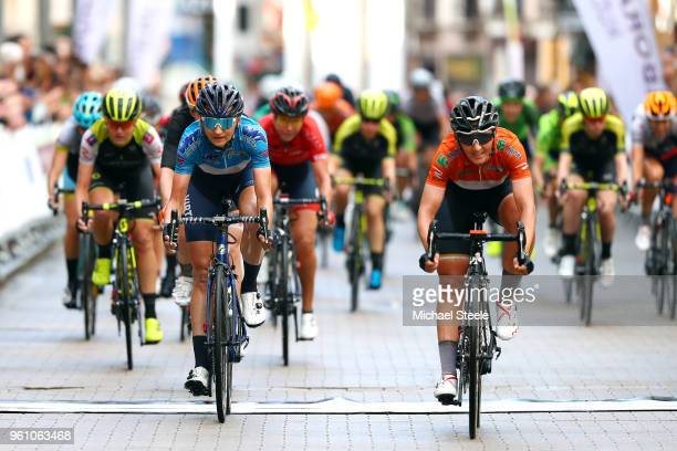 Arrival / Aafke Soet of The Netherlands and WNT Rotor Procycling Team Red Best Young Rider Jersey / Lisa Brennauer of Germany and Team Wiggle High5...