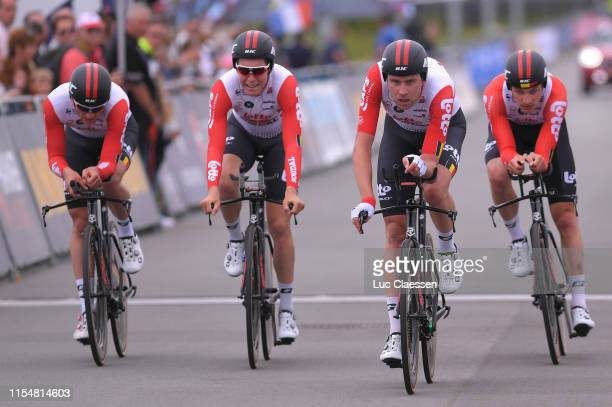 Arrival / Adam Blythe of the United Kingdom and Team Lotto Soudal / Frederik Frison of Belgium and Team Lotto Soudal / Brent Van Moer of Belgium and...