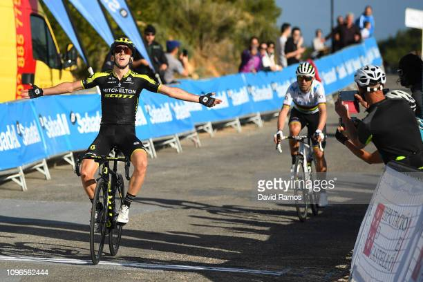 Arrival / Adam Yates of Great Britain and Team Mitchelton Scott / Celebration / Alejandro Valverde of Spain and Movistar Team World Champion Jersey /...