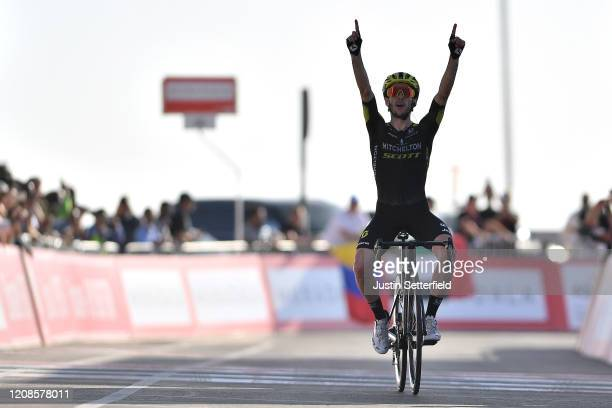 Arrival / Adam Yates of The United Kingdom and Team Mitchelton - Scott / Celebration / during the 6th UAE Tour 2020, Stage 3 a 184km stage from Al...