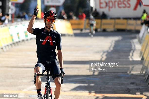 Arrival / Adam Yates of United Kingdom and Team INEOS Grenadiers Celebration, during the 100th Volta Ciclista a Catalunya 2021, Stage 3 a 203,1km...