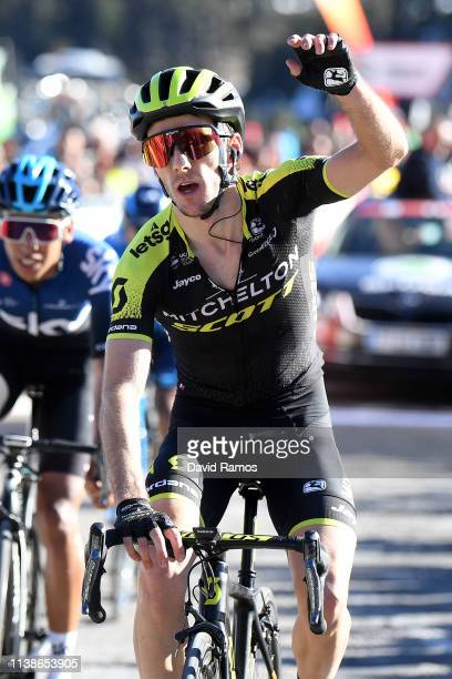 Arrival / Adam Yates of United Kingdom and Team Mitchelton - Scott / Celebration / Egan Arley Bernal of Colombia and Team Sky /during the 99th Volta...
