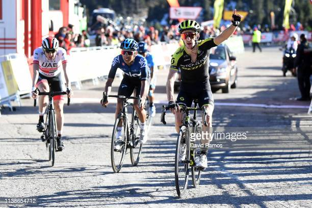 Arrival / Adam Yates of United Kingdom and Team Mitchelton - Scott / Celebration / Egan Arley Bernal of Colombia and Team Sky / Daniel Martin of...