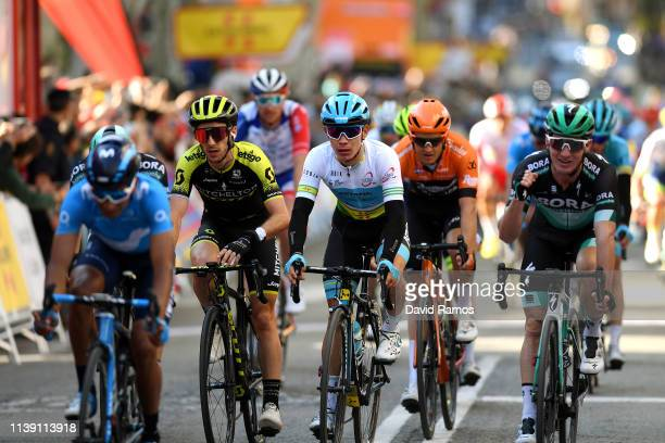 Arrival / Adam Yates of United Kingdom and Team Mitchelton Scott / Miguel Angel Lopez of Colombia and Astana Pro Team Green Leader Jersey / during...