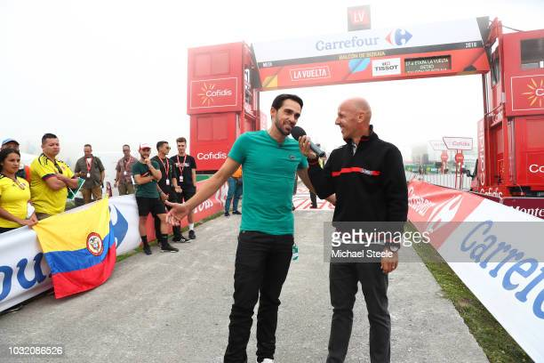 Arrival / Alberto Contador of Spain Ex Procyclist / Interview / during the 73rd Tour of Spain 2018 Stage 17 a 157km stage from Getxo to Alto del...