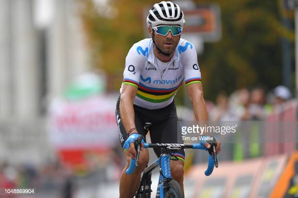 Arrival / Alejandro Valverde Belmonte of Spain and Movistar Team / during the 99th Milano Torino 2018 a 200km race from MagentaMilan to TorinoSuperga...