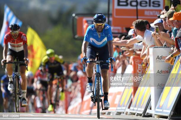 Arrival / Alejandro Valverde Belmonte of Spain and Movistar Team / during the 82nd La Fleche Wallonne 2018 a 1985km race from Seraing to Mur De Huy...