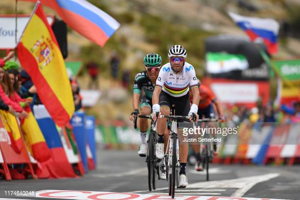Arrival / Alejandro Valverde Belmonte of Spain and Movistar Team / Rafal Majka of Poland and Team Bora-Hansgrohe / during the 74th Tour of Spain 2019...
