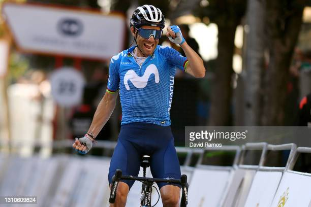 Arrival / Alejandro Valverde Belmonte of Spain and Movistar Team Celebration, during the 12th Gran Premio Miguel Indurain 2021 a 203,2km race from...