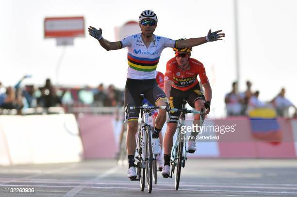 Arrival / Alejandro Valverde Belmonte of Spain and Movistar Team World Champion Jersey / Celebration / Primoz Roglic of Slovenia and Team Jumbo-Visma...
