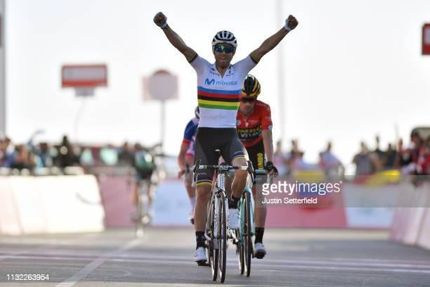 Arrival / Alejandro Valverde Belmonte of Spain and Movistar Team World Champion Jersey / Celebration / Primoz Roglic of Slovenia and Team JumboVisma...