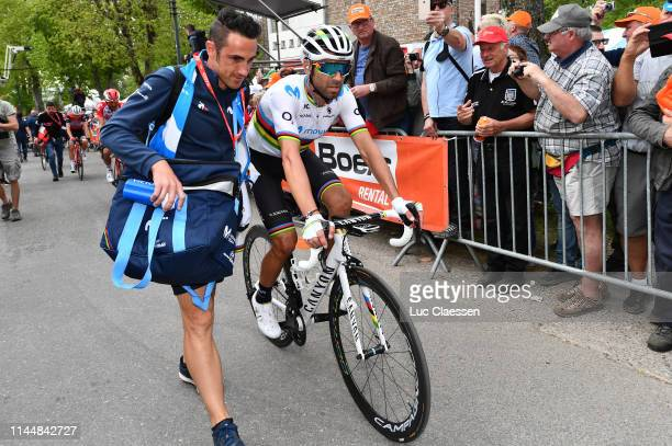 Arrival / Alejandro Valverde Belmonte of Spain and Movistar Team World Champion Jersey / Soigneur / during the 83rd La Fleche Wallonne 2019 a 195,5km...