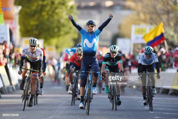 Arrival / Alejandro Valverde Belmonte of Spain and Team Movistar / Celebration / Daryl Impey of South Africa and Team MitcheltonScott / during the...