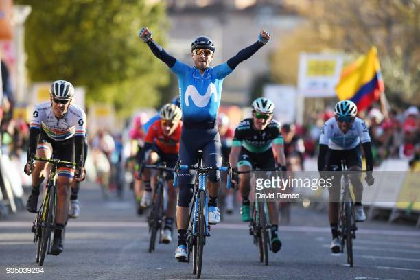 Arrival / Alejandro Valverde Belmonte of Spain and Team Movistar / Celebration / Daryl Impey of South Africa and Team MitcheltonScott / Jay McCarthy...