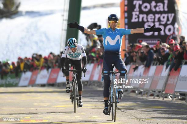 Arrival / Alejandro Valverde Belmonte of Spain and Team Movistar Celebration / Egan Arley Bernal Gomez of Colombia and Team Sky / during the 98th...