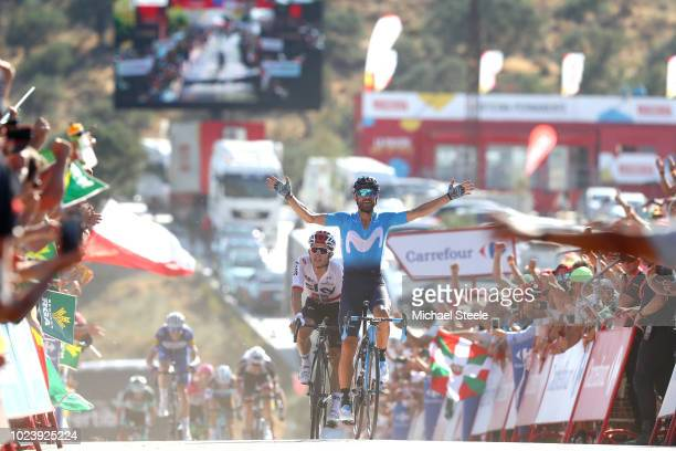 Arrival / Alejandro Valverde of Spain and Movistar Team / Celebration / Michal Kwiatkowski of Poland and Team Sky / during the 73rd Tour of Spain...