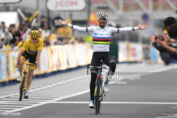 Arrival / Alejandro Valverde of Spain and Movistar Team Celebration / Geraint Thomas of Great Britain and Team Sky Yellow Leader Jersey / during the...