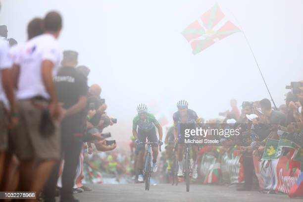 Arrival / Alejandro Valverde of Spain and Movistar Team Green Points Jersey / Enric Mas of Spain and Team QuickStep Floors / during the 73rd Tour of...